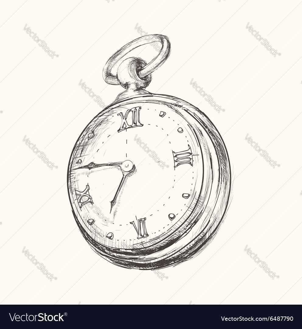 Hand drawn vintage watch clock sketch