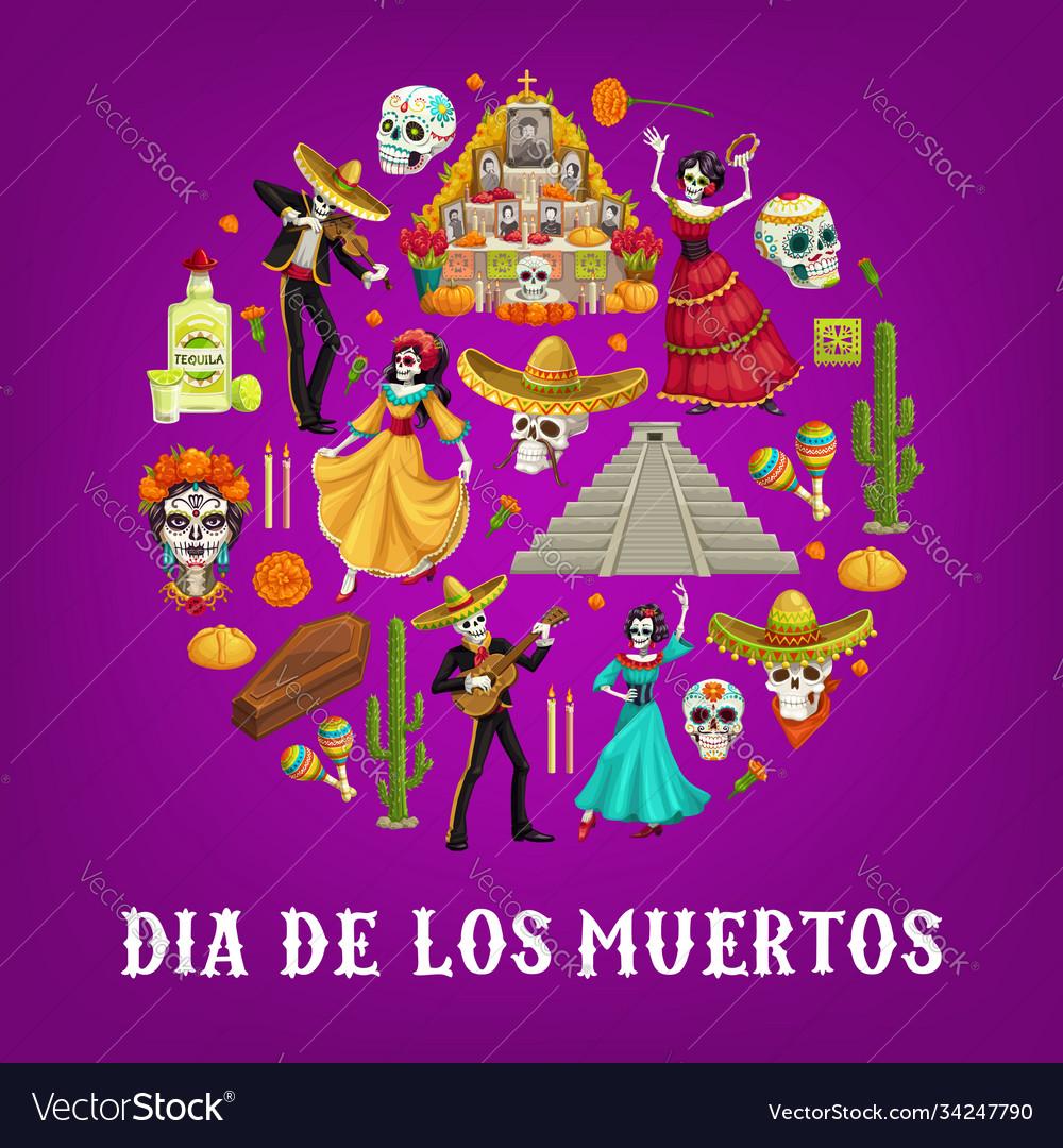 Mexican day dead sugar skulls sombrero guitar