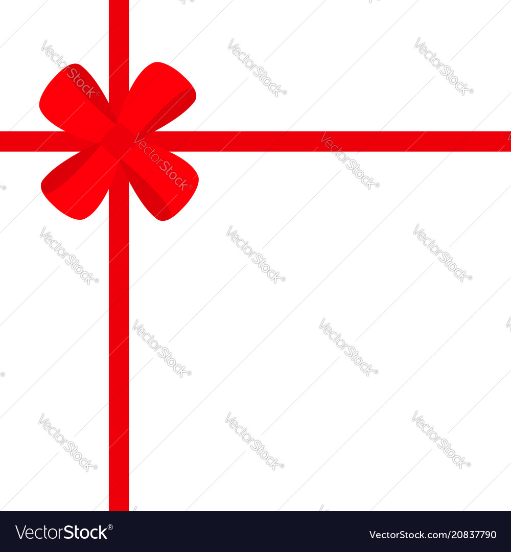 Red ribbon with christmas gift bow icon gift box Vector Image