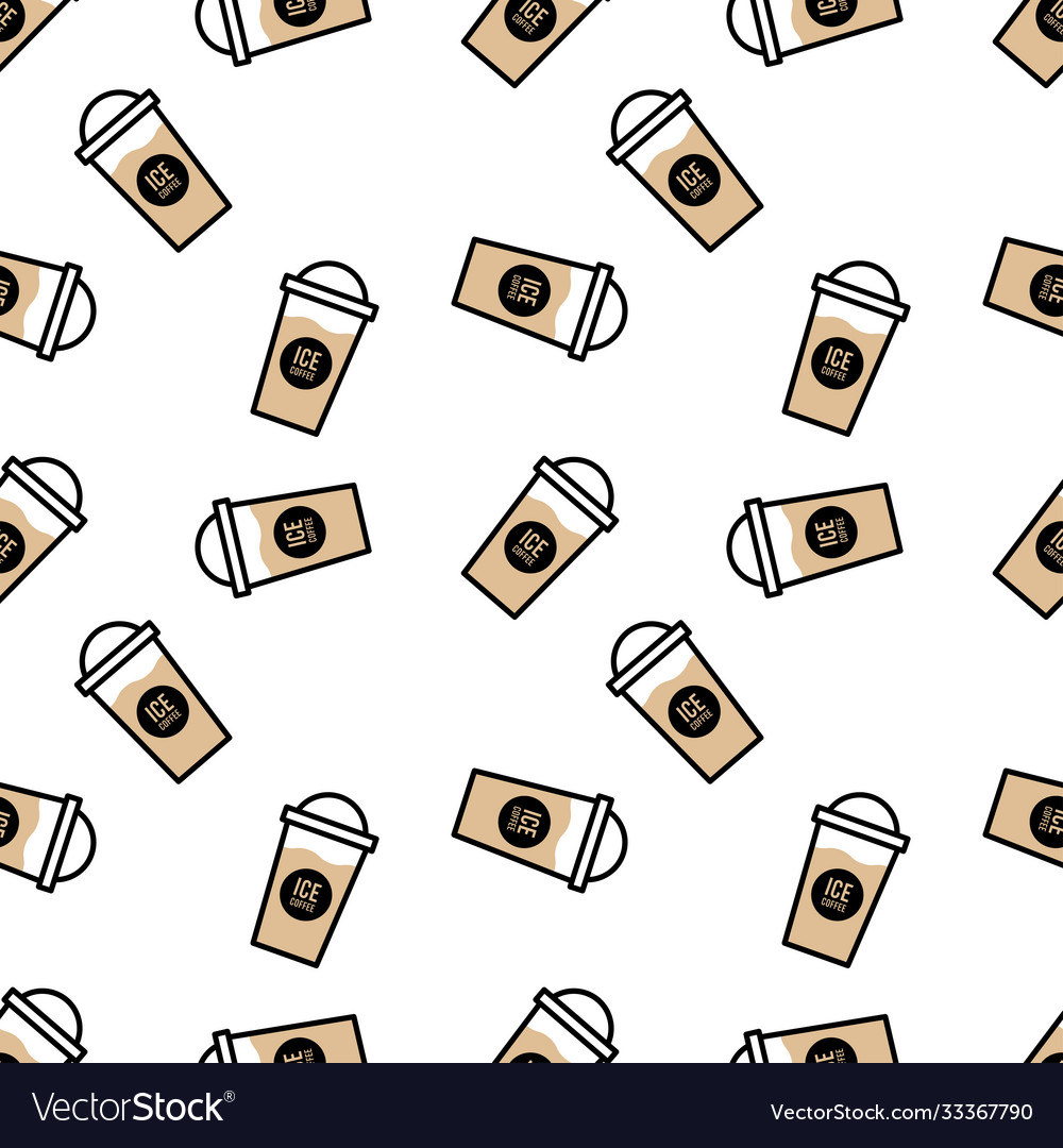 Seamless coffee cup pattern - separate layers