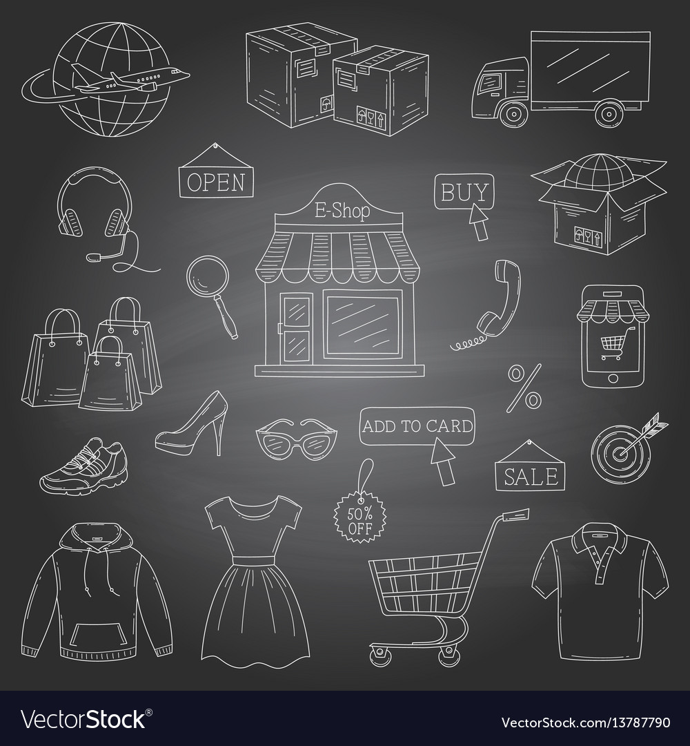 Set of hand drawn online shopping icons