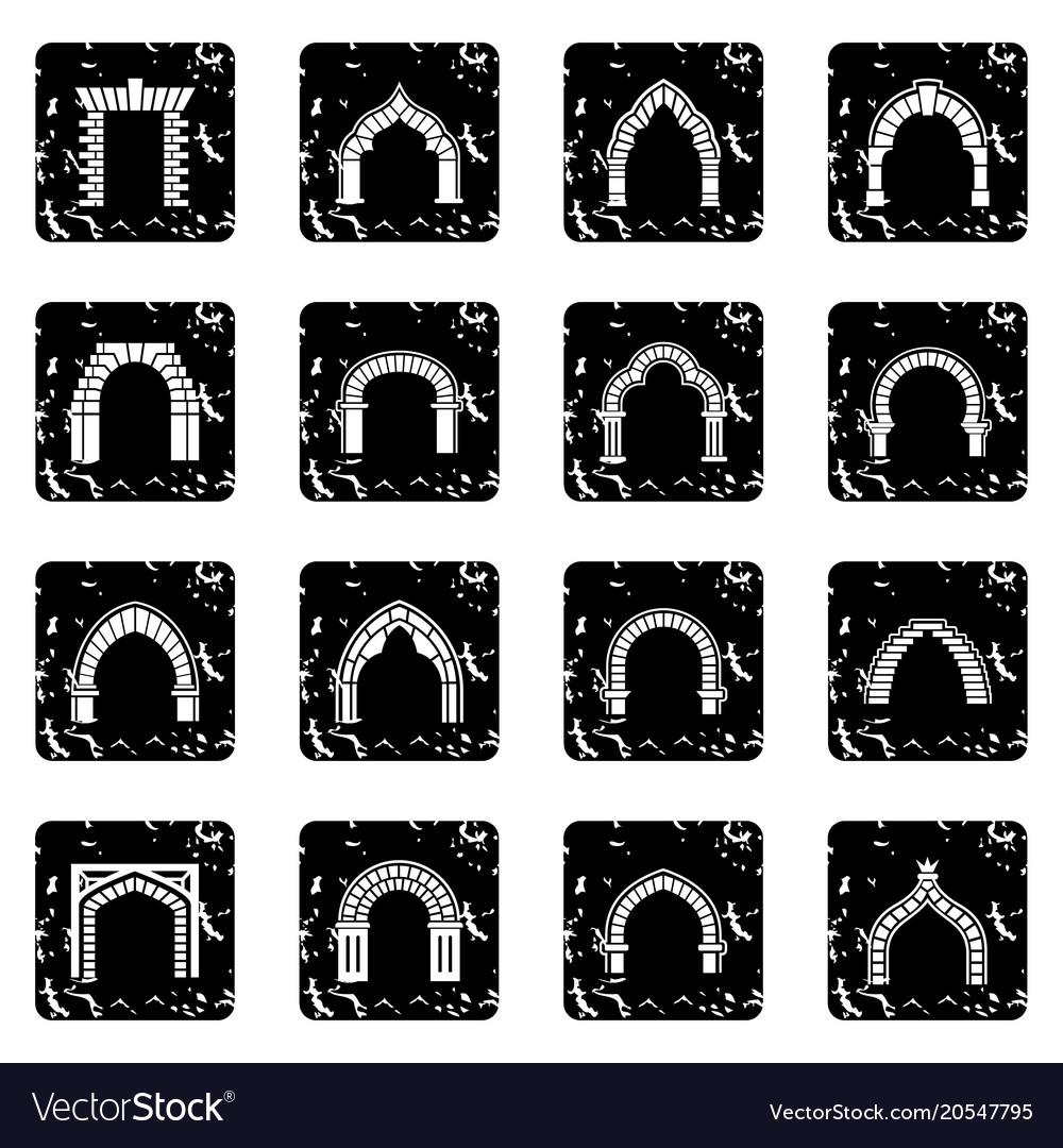 Arch types icons set grunge