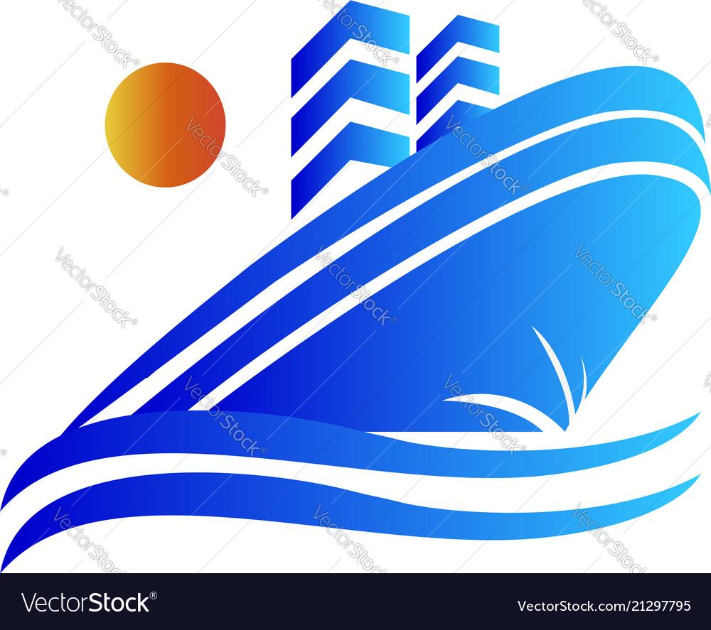 Blue cruise ship logo