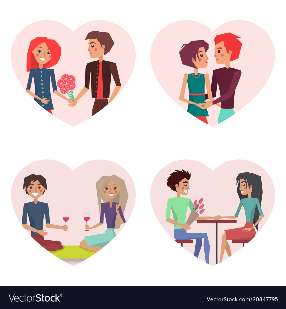 Couples in love set of images