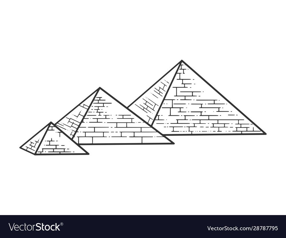 Egyptian pyramids sketch engraving