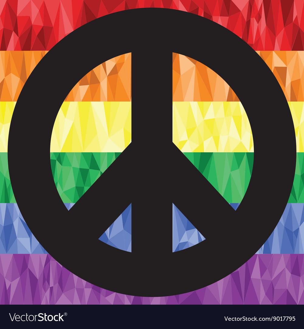 Gay peace sign on rainbow flag