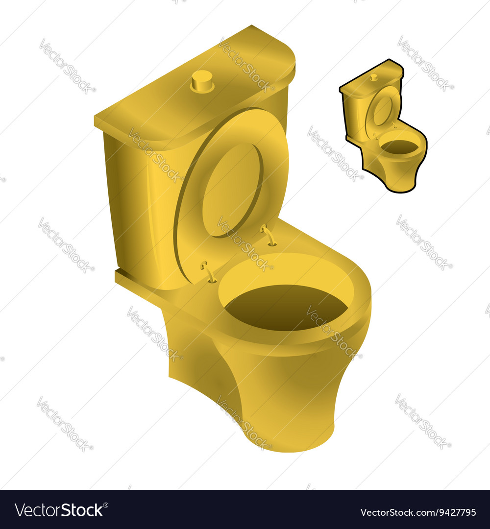 Gold toilet bowl isometric on white background Sin