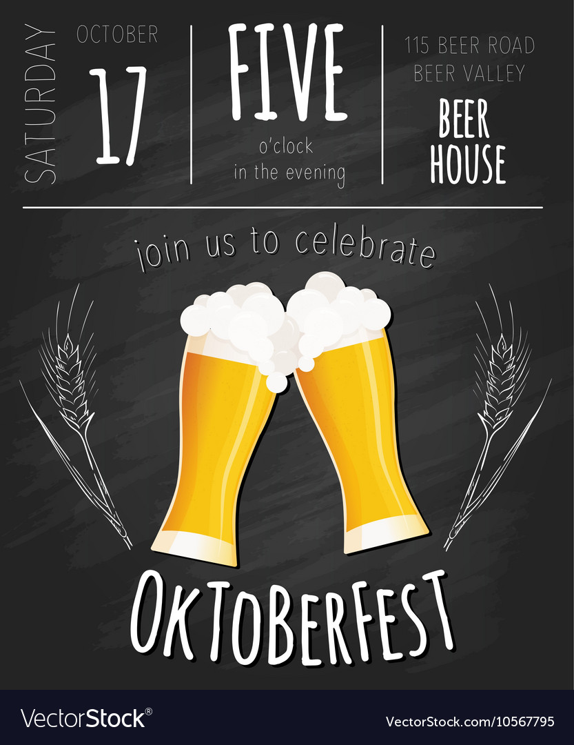 Hand drawn oktoberfest poster with two flat beer