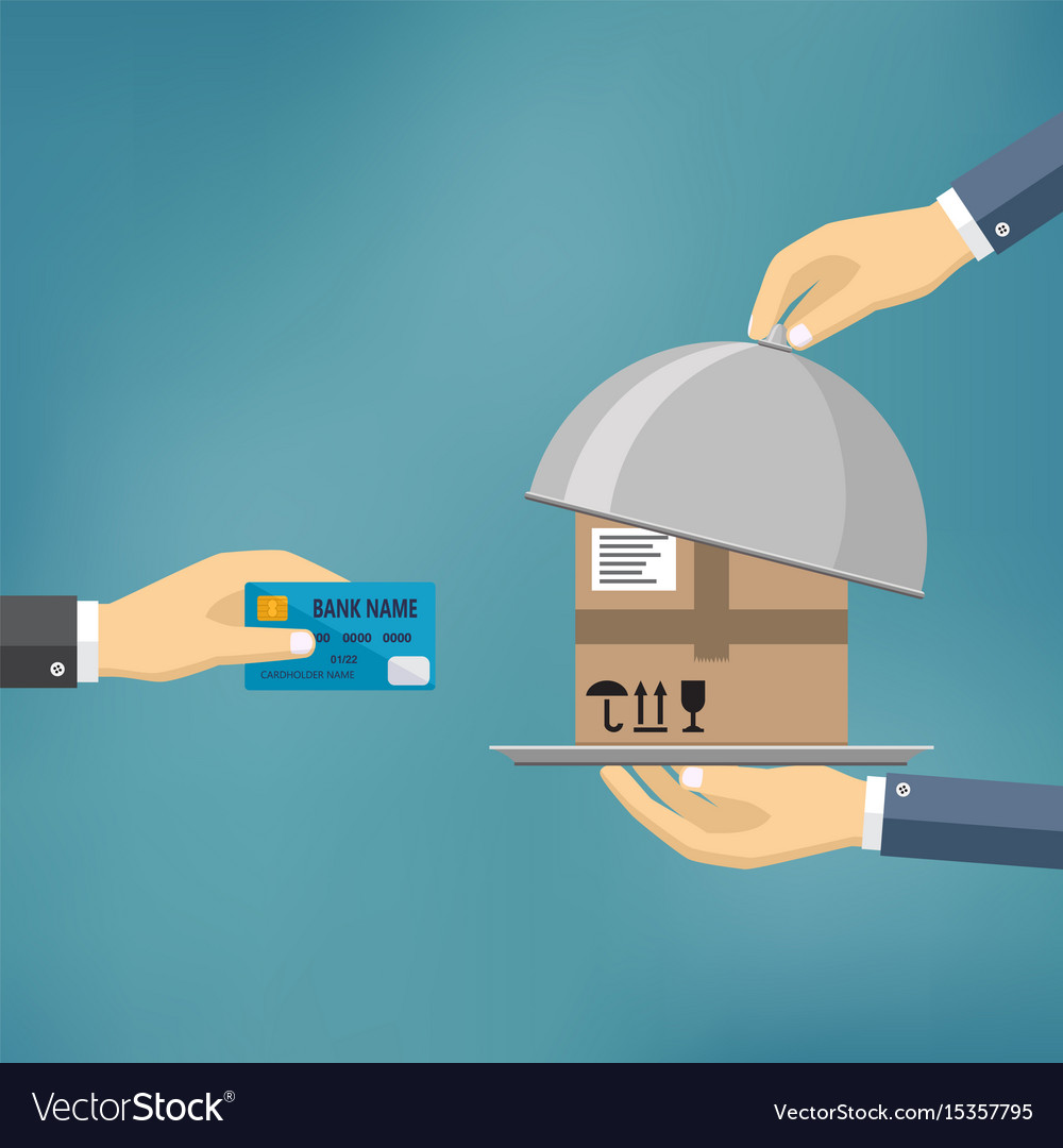Hand with credit card and hand with parcel vector image