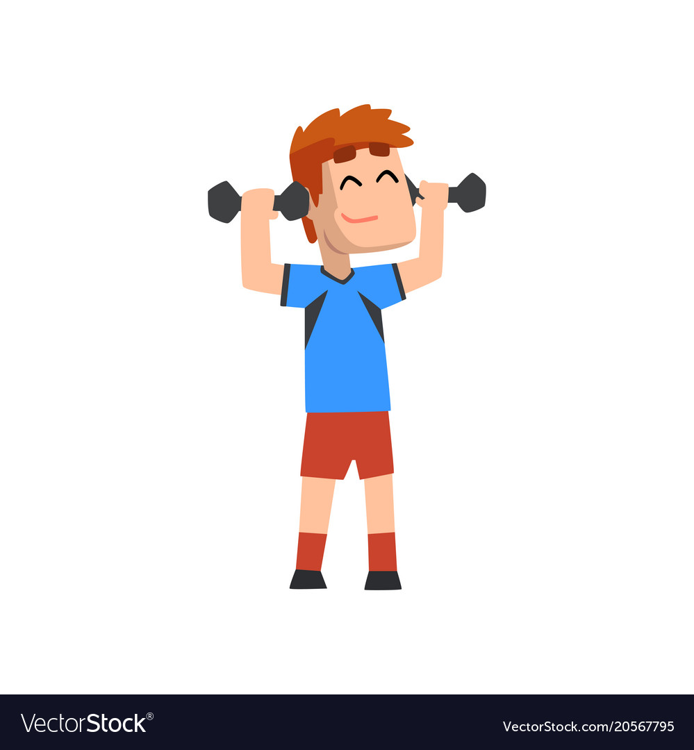 Male athlete exercising with dumbbells