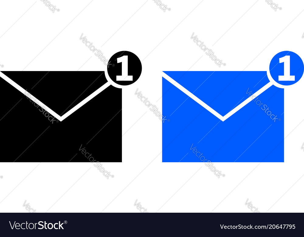 One new incoming message envelope icon