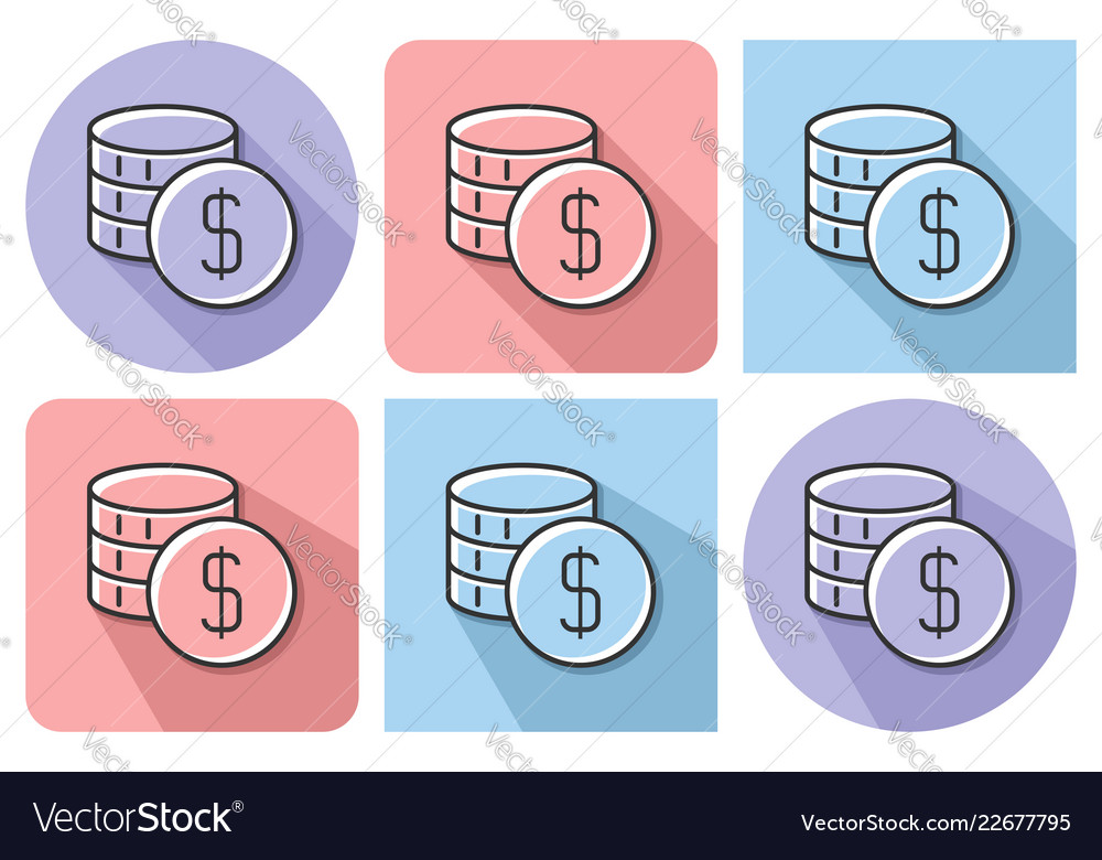 Outlined icon of coins stack with parallel and