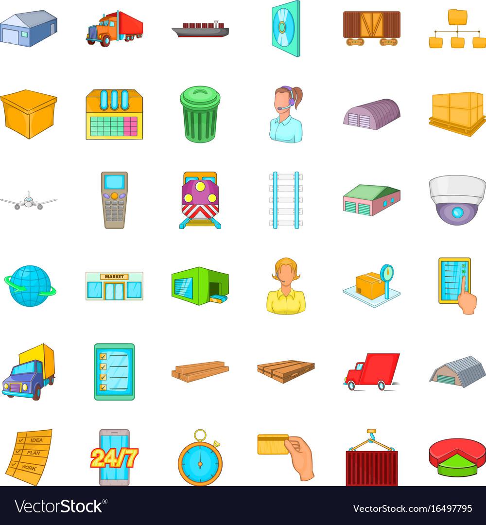 Store icons set cartoon style