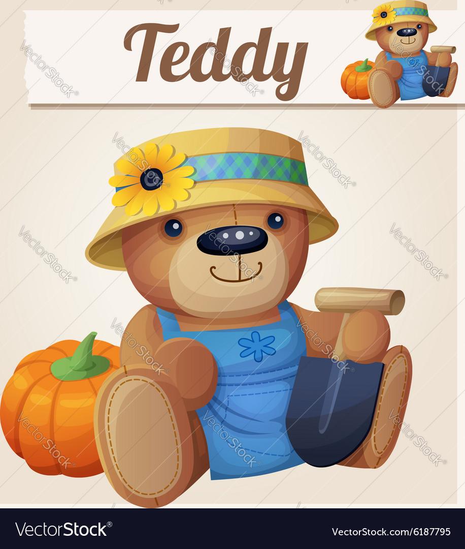 Teddy bear the Gardener Farmer Cartoon