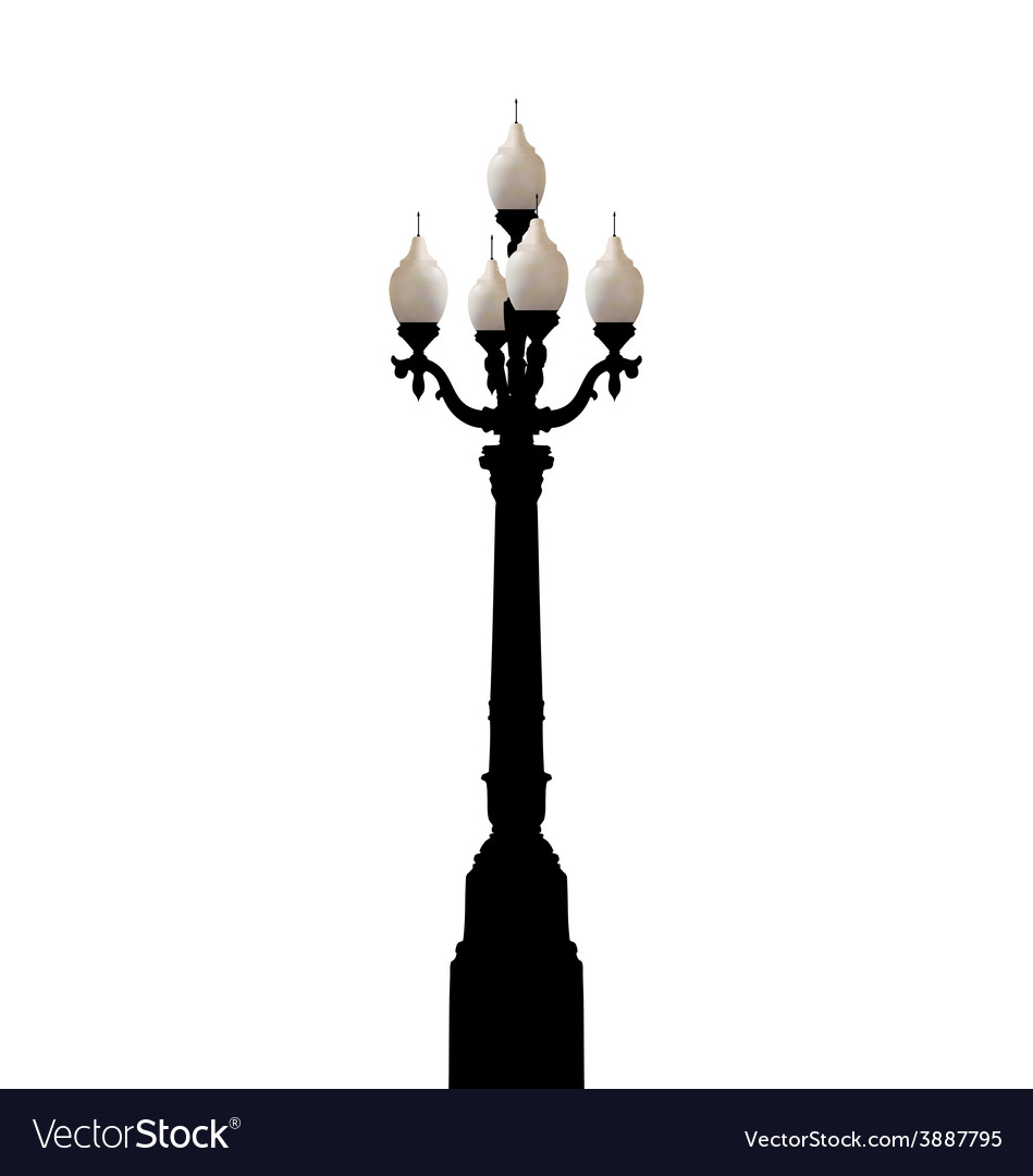 Vintage Forged Lamppost Isolated On White Vector Image