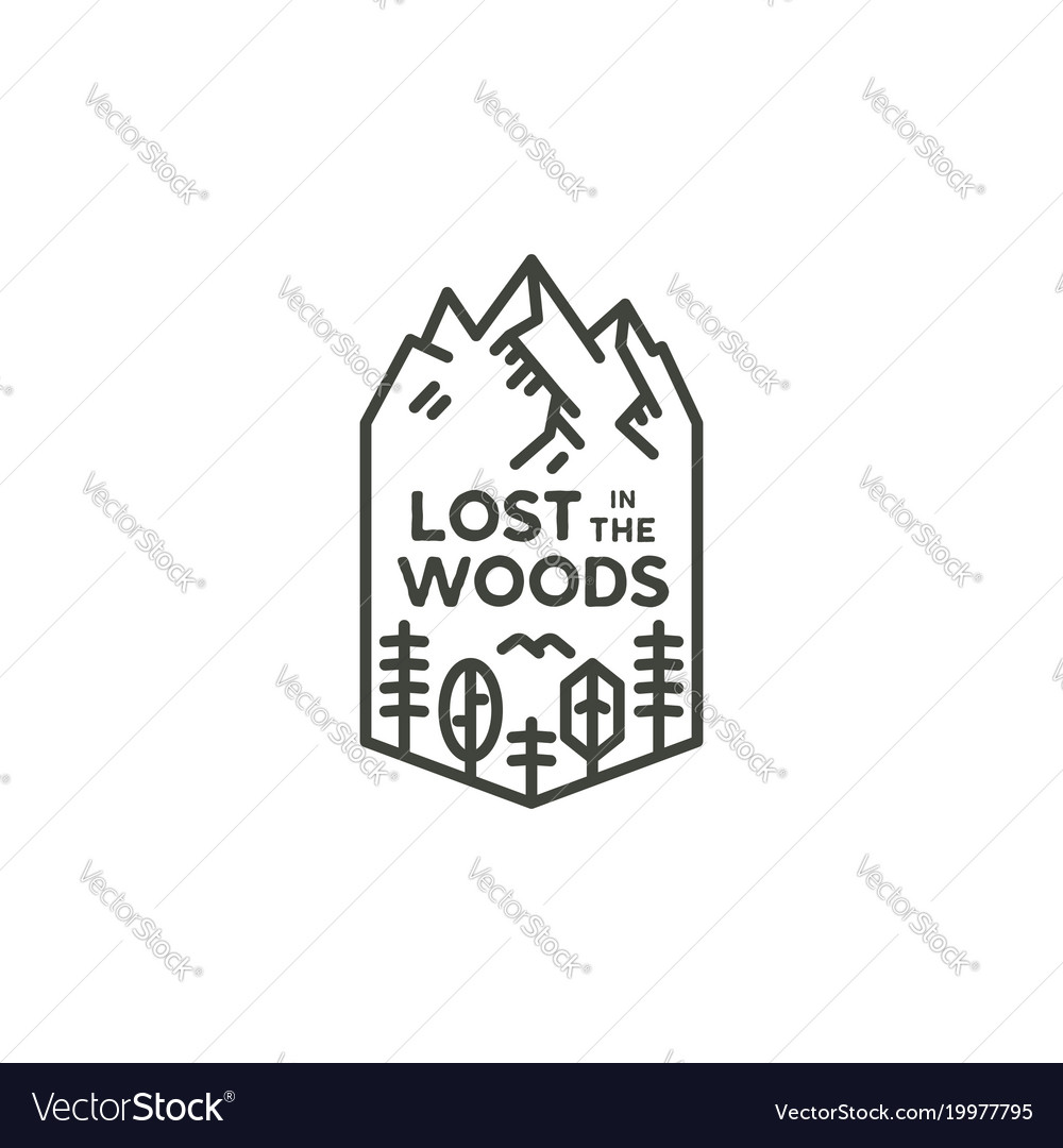 Vintage linear travel badge camping line art vector image