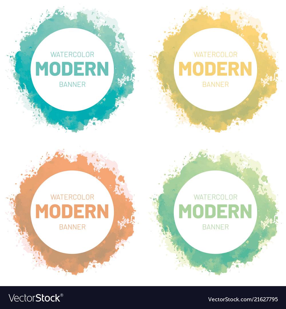 Watercolor set banner modern art design
