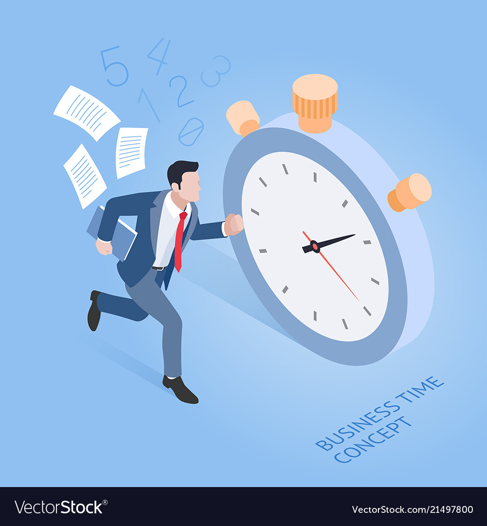 Business time concepts businessman running