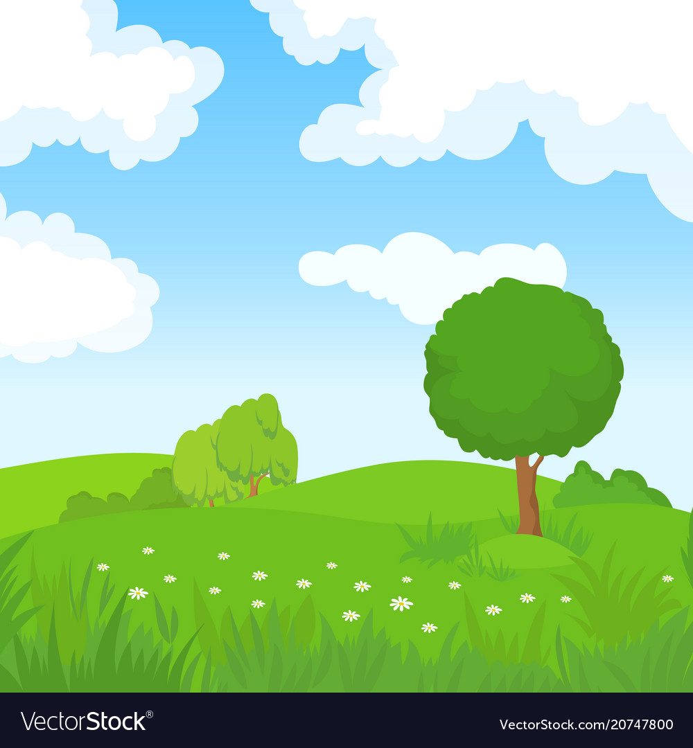Cartoon summer landscape with green trees and
