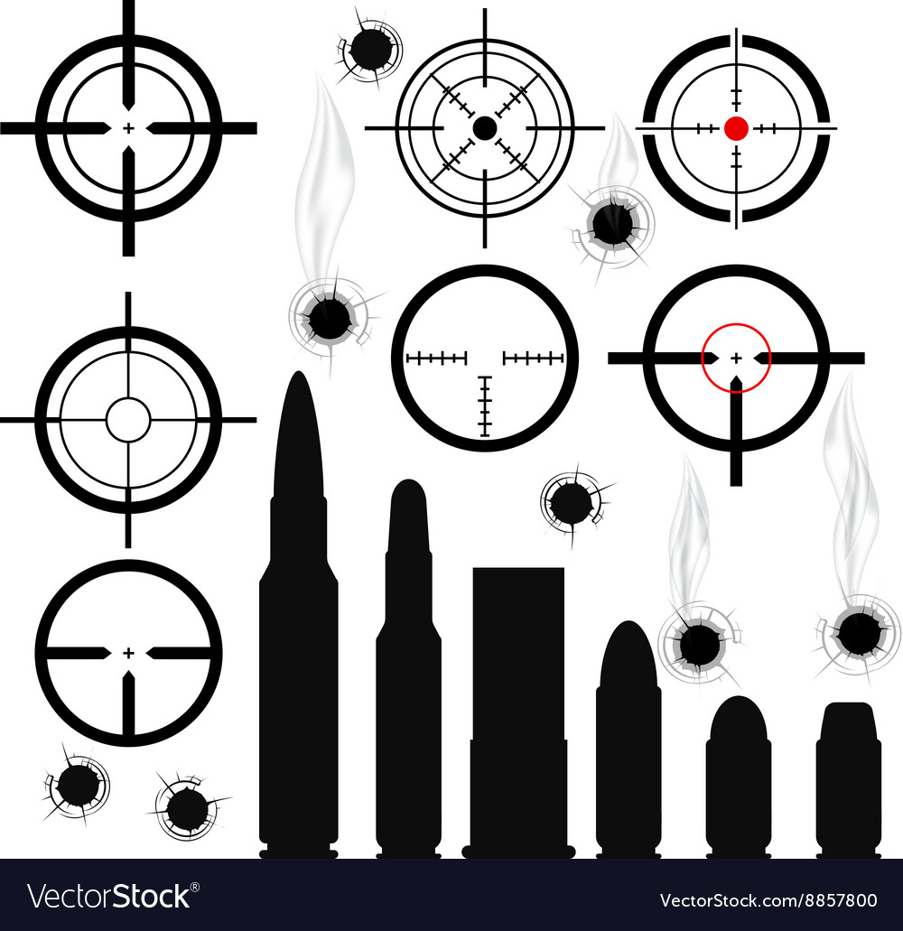 Crosshairs gun sights bullet cartridges and bullet