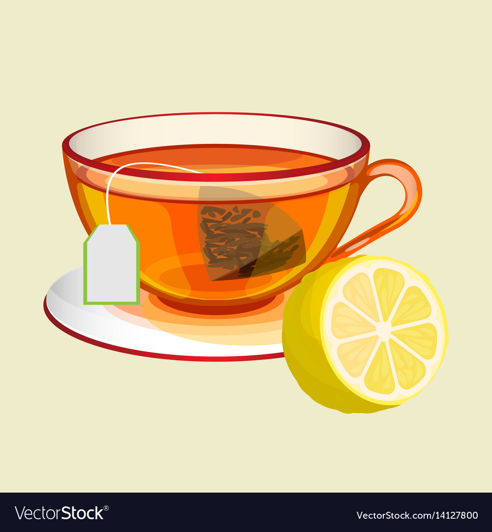 Cup on saucer with tea bag water and fresh lemon