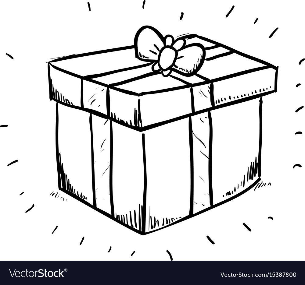 Gift Box Draw Royalty Free Vector Image Vectorstock