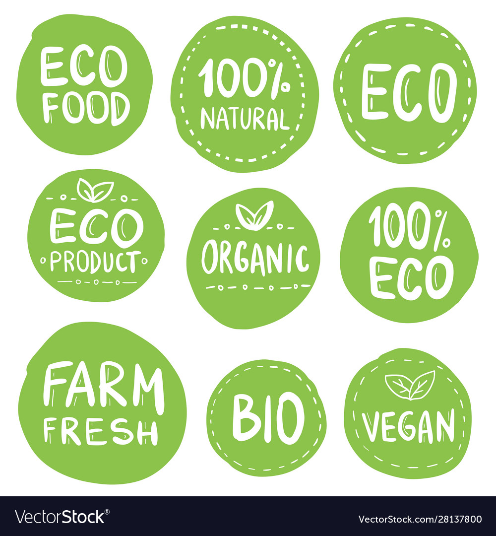 Green eco food labels health headings collection