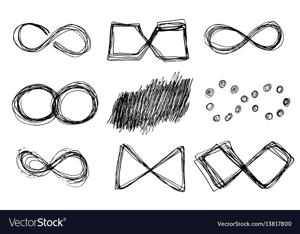 Hand drawn infinity icons set vector image