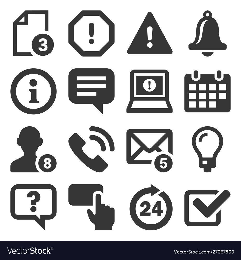 Information and notification icons on white vector