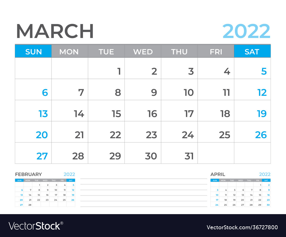 March 2022 Page Desk Calendar 2022 Template Vector Image