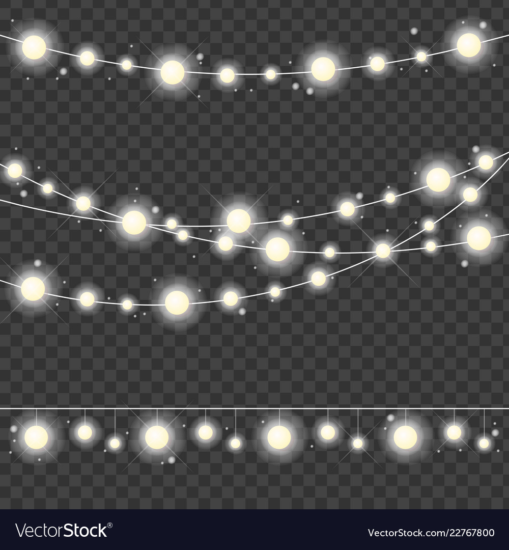 Realistic 3d detailed christmas lights strings set