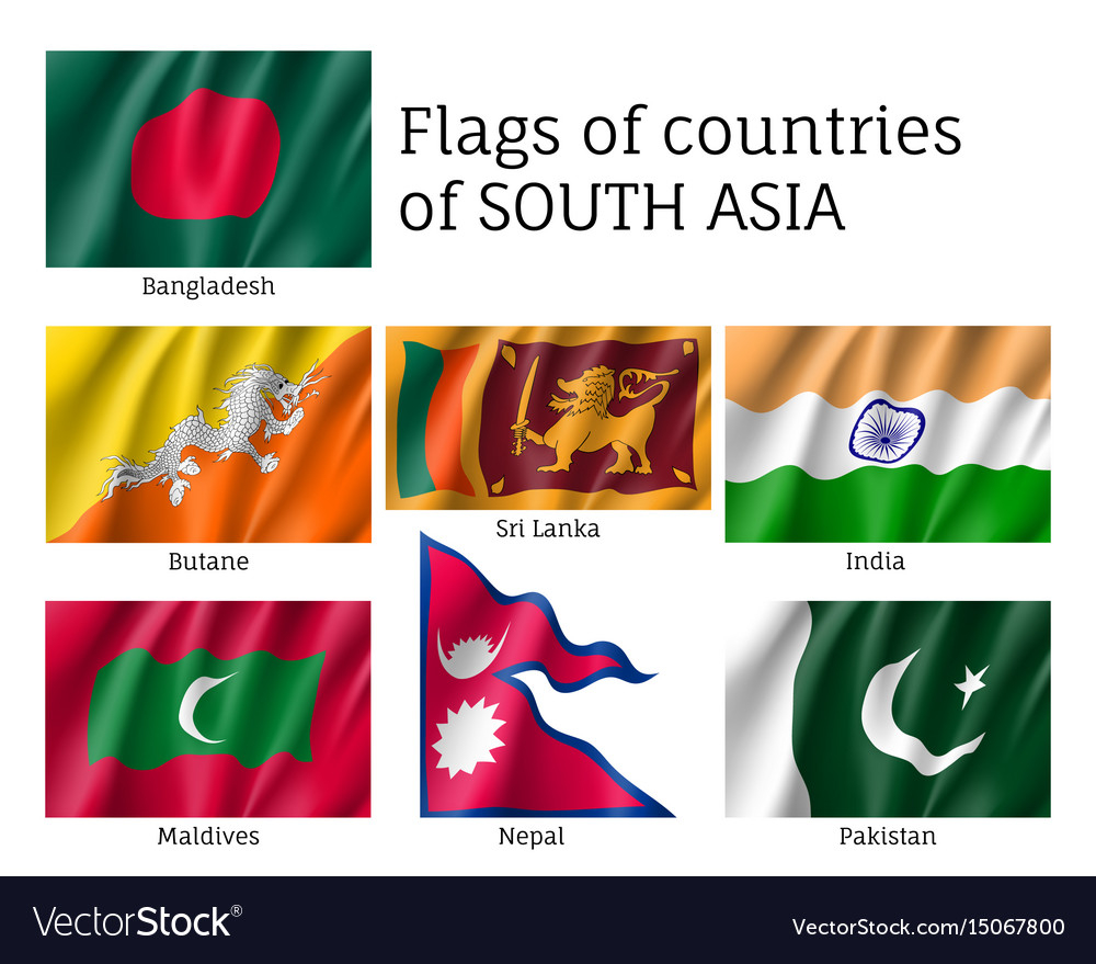 South Asian Countries Flags