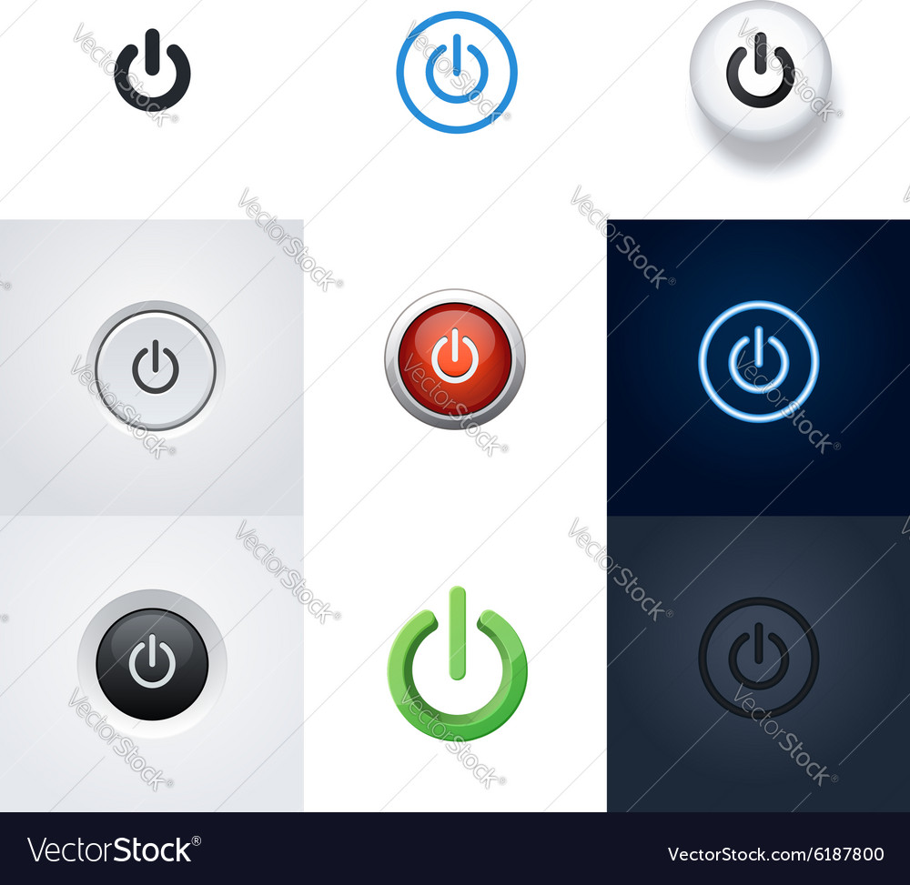 Set of Power buttons and icons vector image