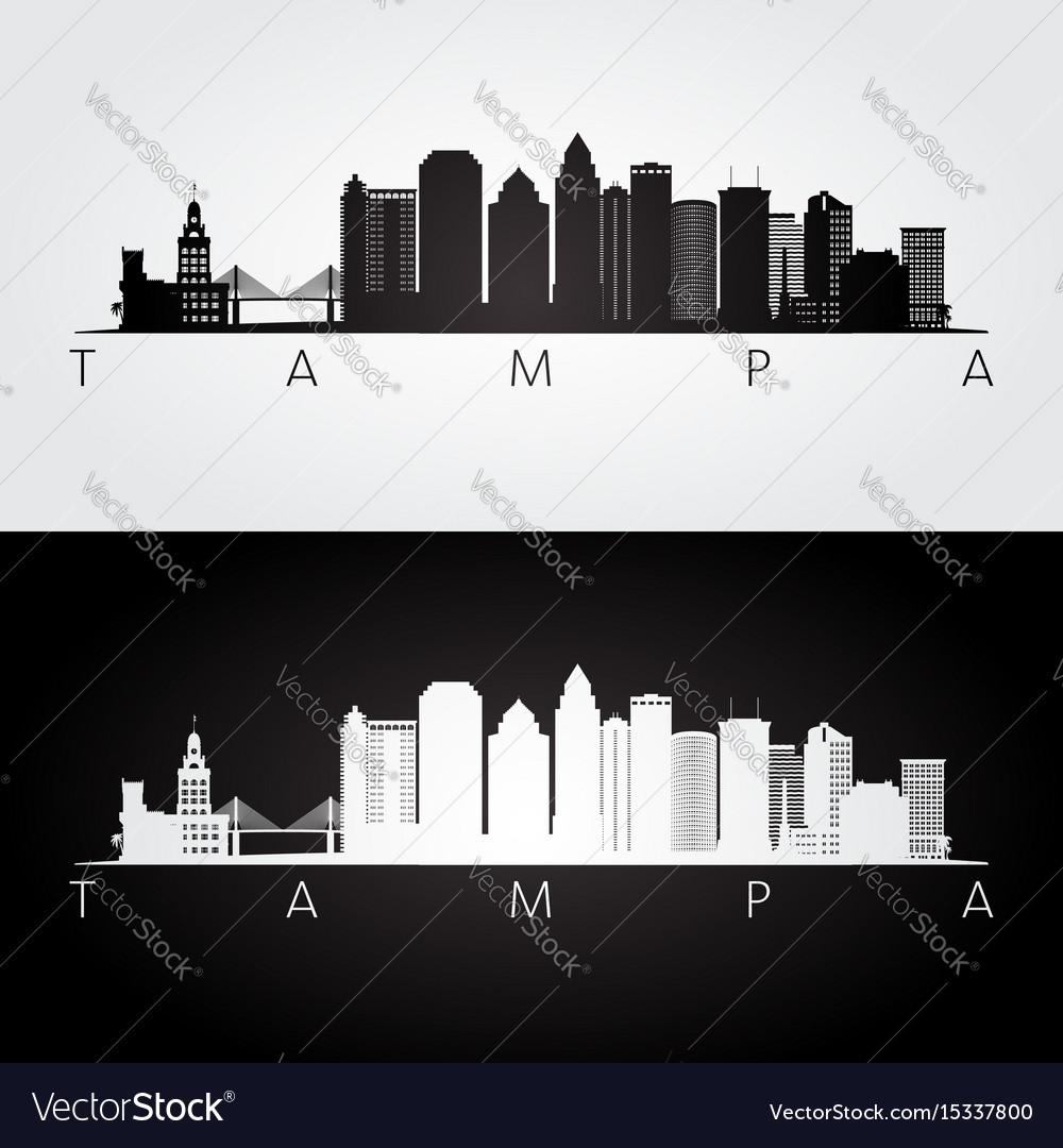 Tampa usa skyline and landmarks silhouette vector image
