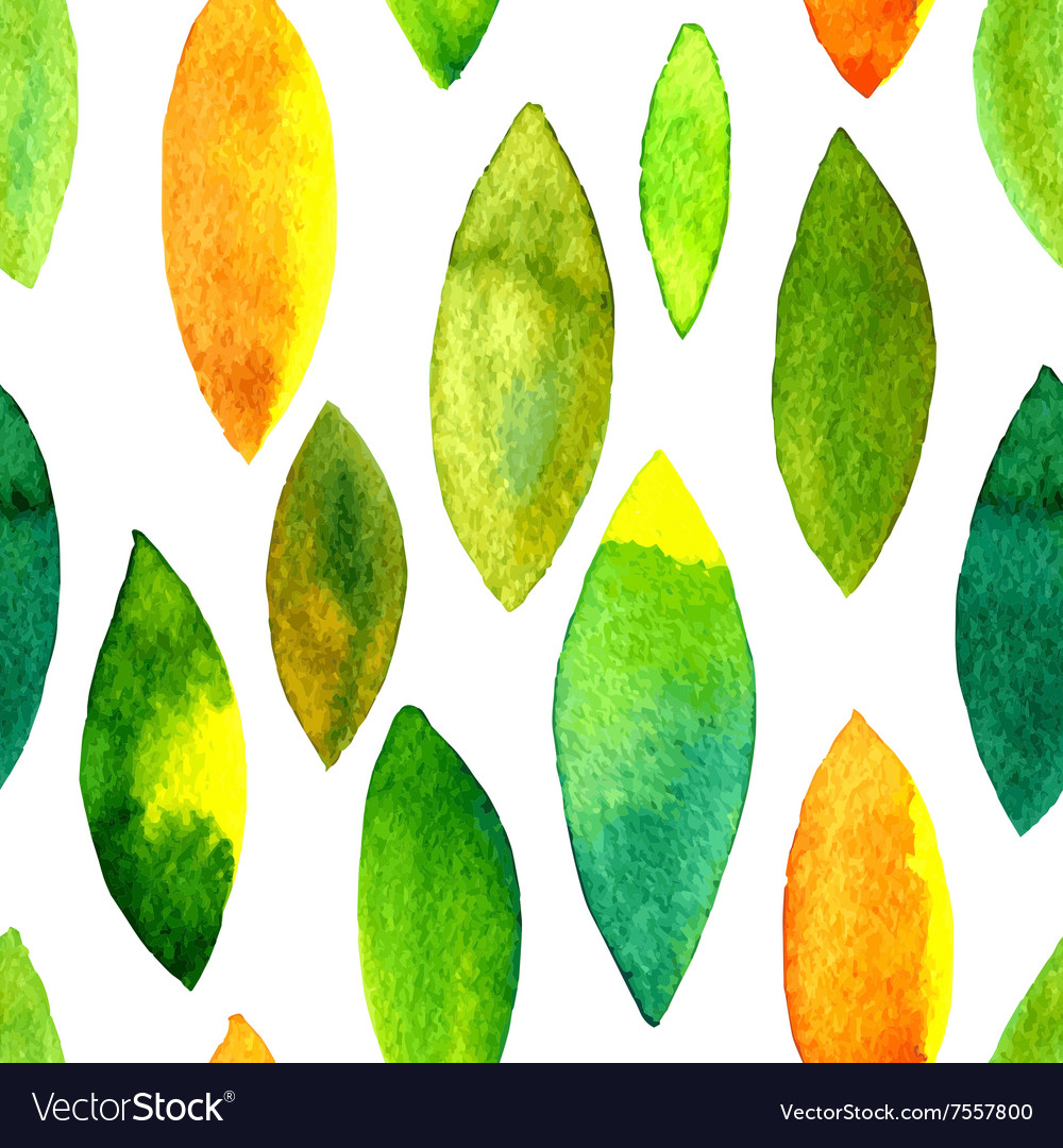 Watercolor seamless pattern with leaves