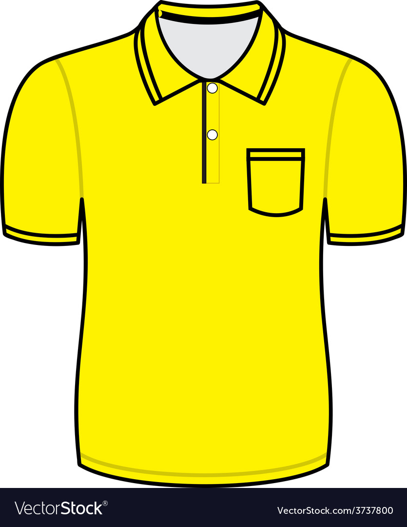 Yellow polo shirt outline Royalty Free Vector Image