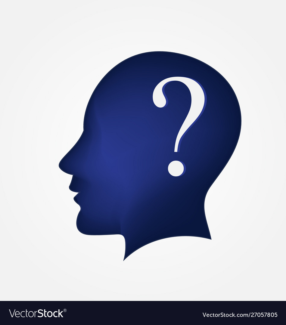 Brain head question mark logo symbol