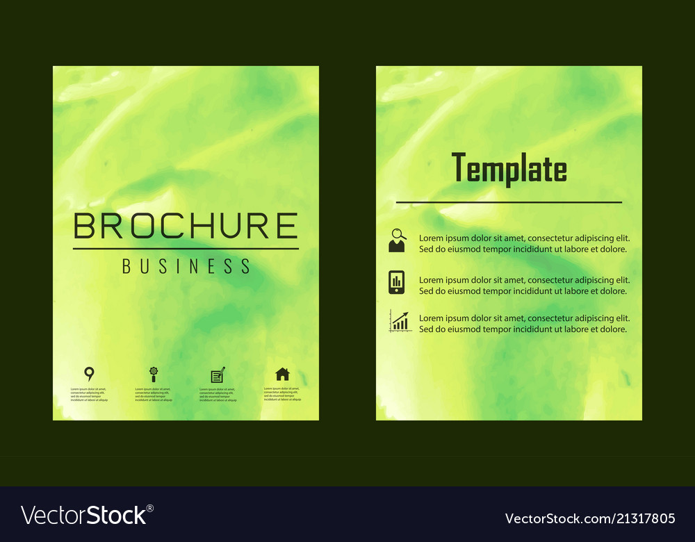 Brochure layout template watercolor cover design