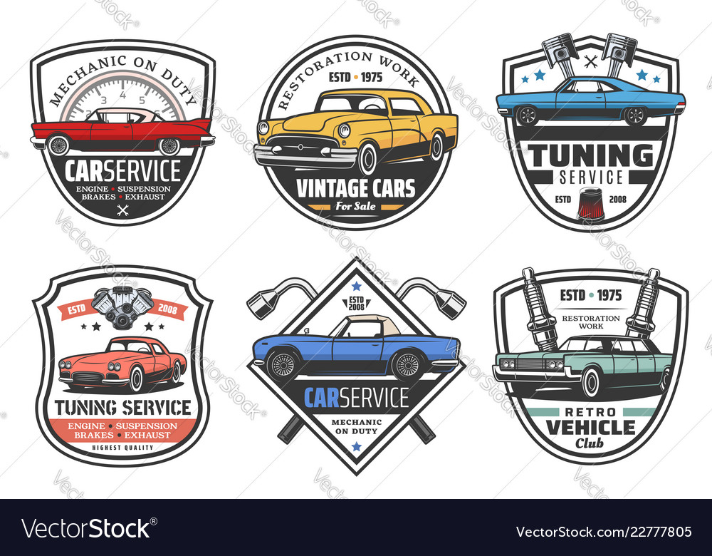 Car wheels and rims service icons