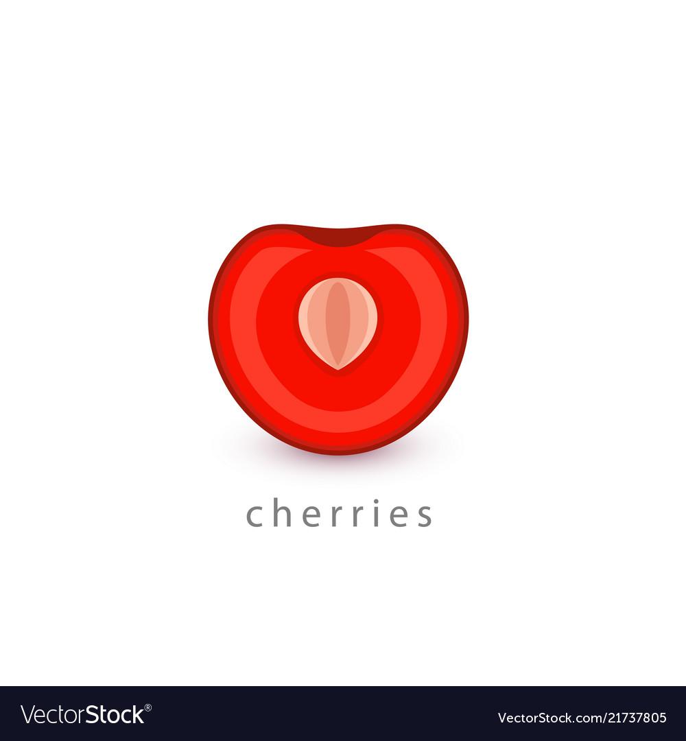 Cherries simple icon vegan logo template