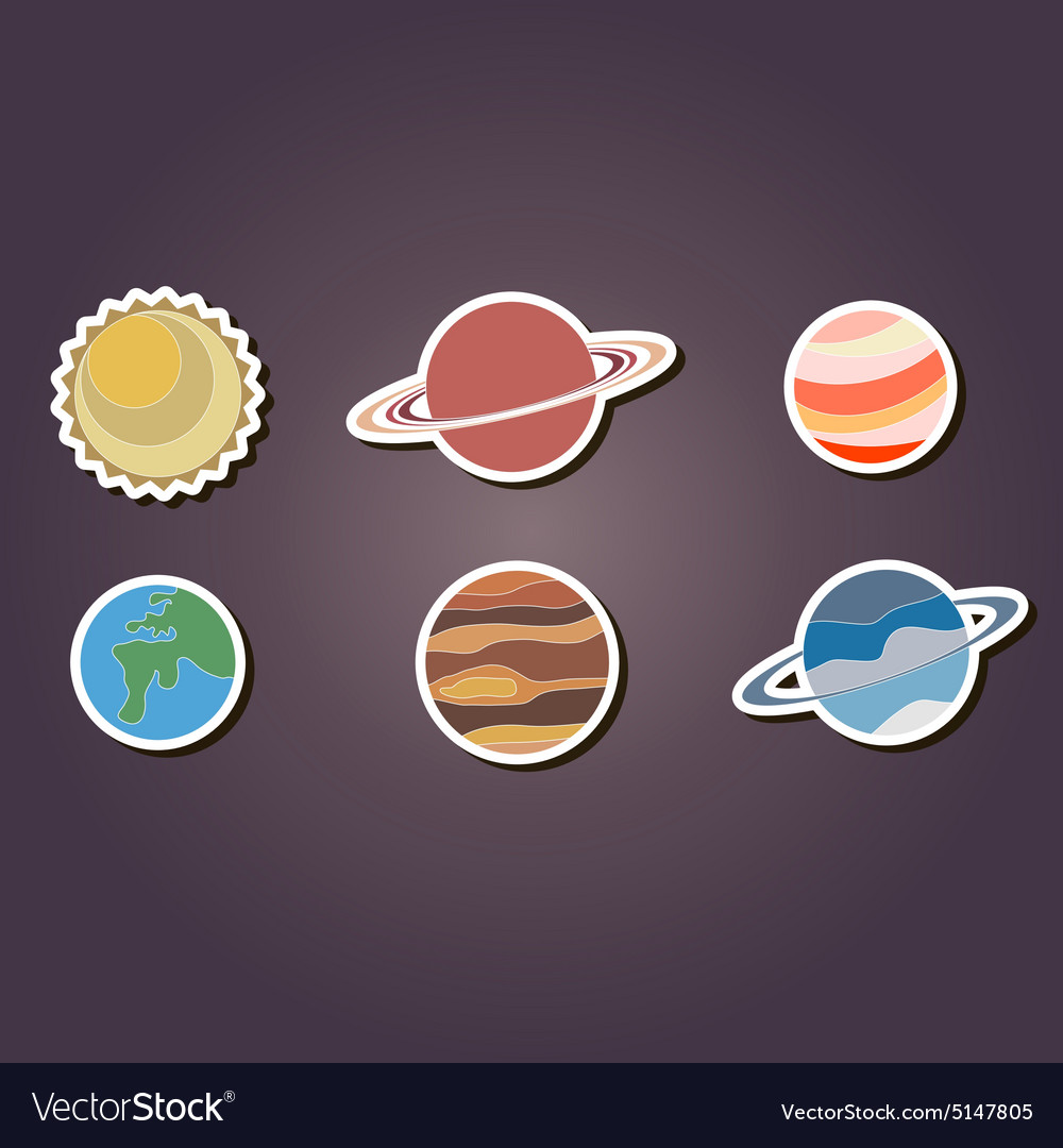 color icons with planets of the solar system vector image