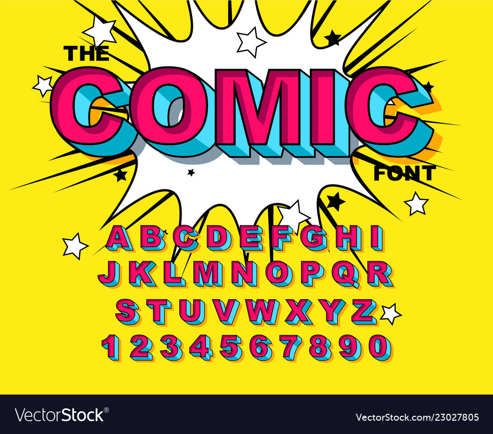 Comic alphabet retro pink letters numbers for
