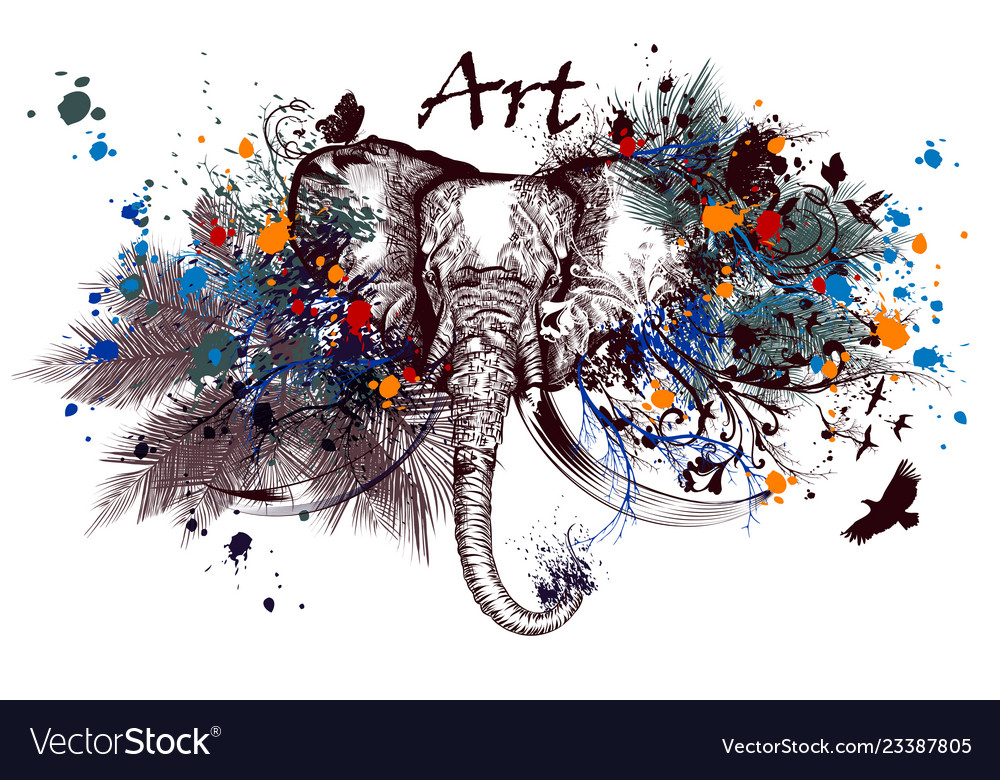 Elephant with ink spots