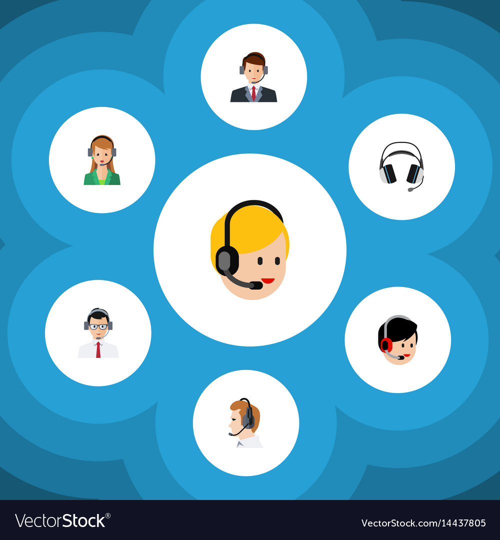 Flat call set of help operator hotline and other vector image