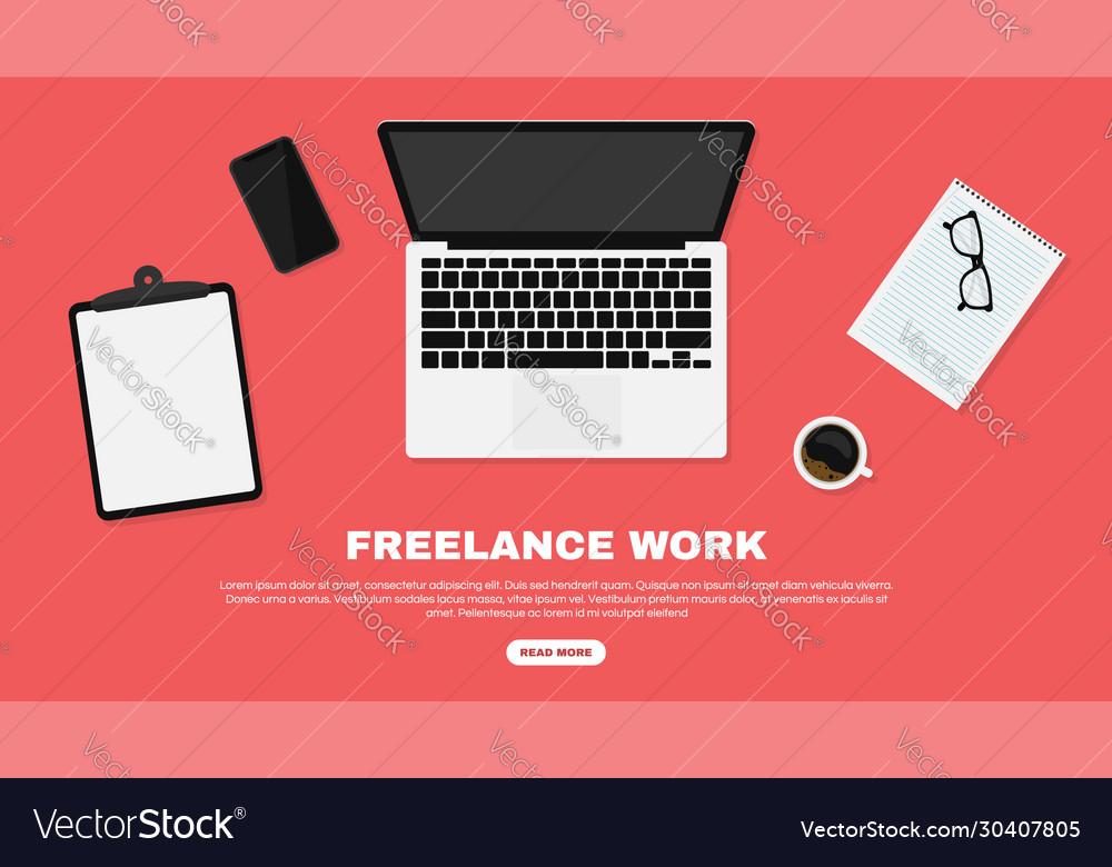 Freelancer workspace workspace in top view