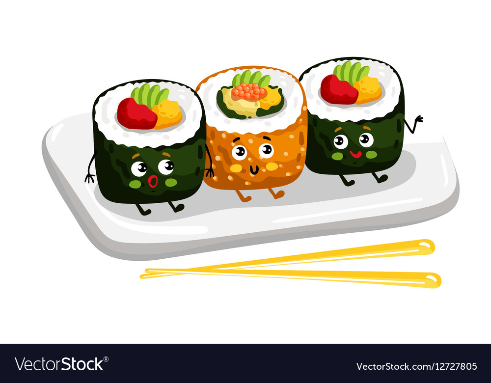 Funny sushi roll set on plate cartoon character