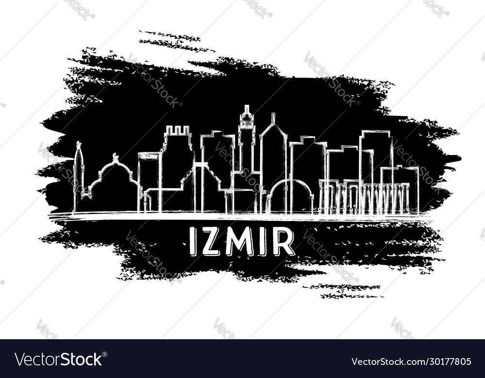 Izmir Turkey City Skyline Silhouette Hand Drawn Vector Image