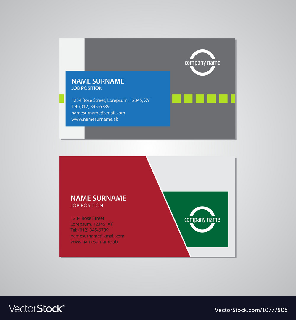 Set Of Two Business Cards 35 X 2 Inches Royalty Free Vector