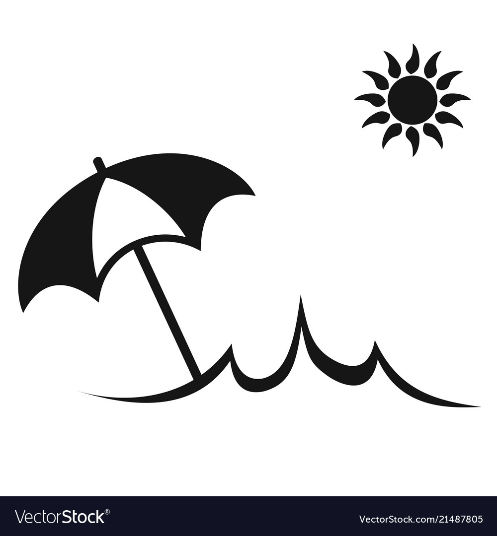 simple sun summer umbrella beach icon royalty free vector vectorstock