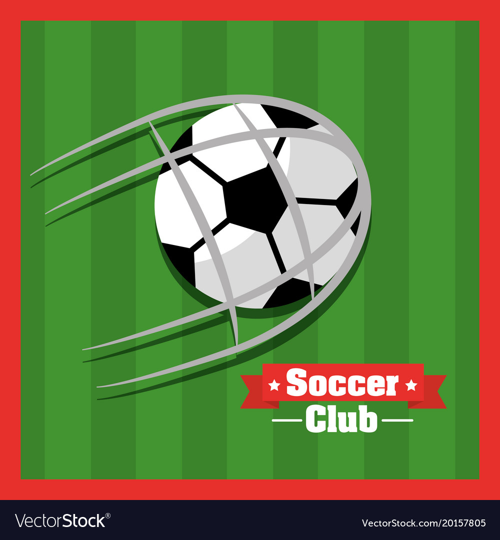 Soccer club ball goal red green background